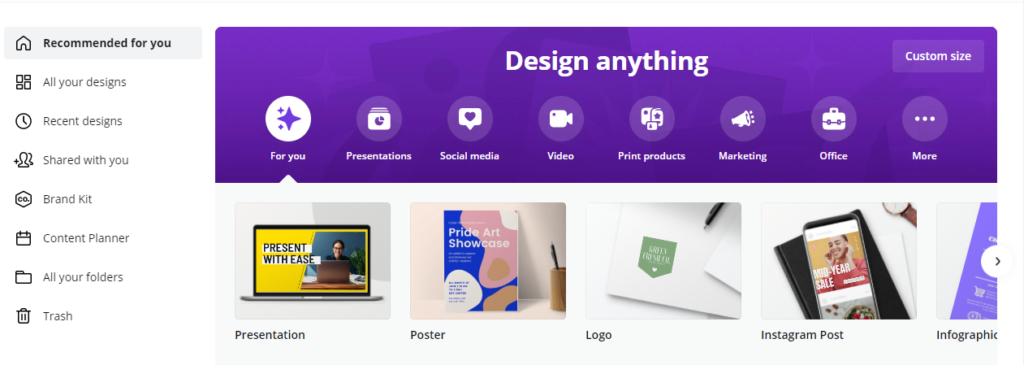 Canva website overview