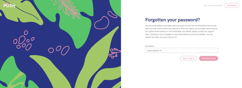 Forgotten password page