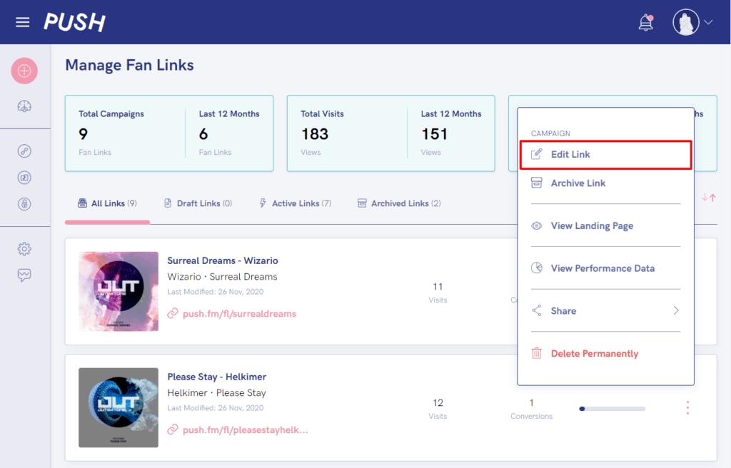Manage fan link dashboard