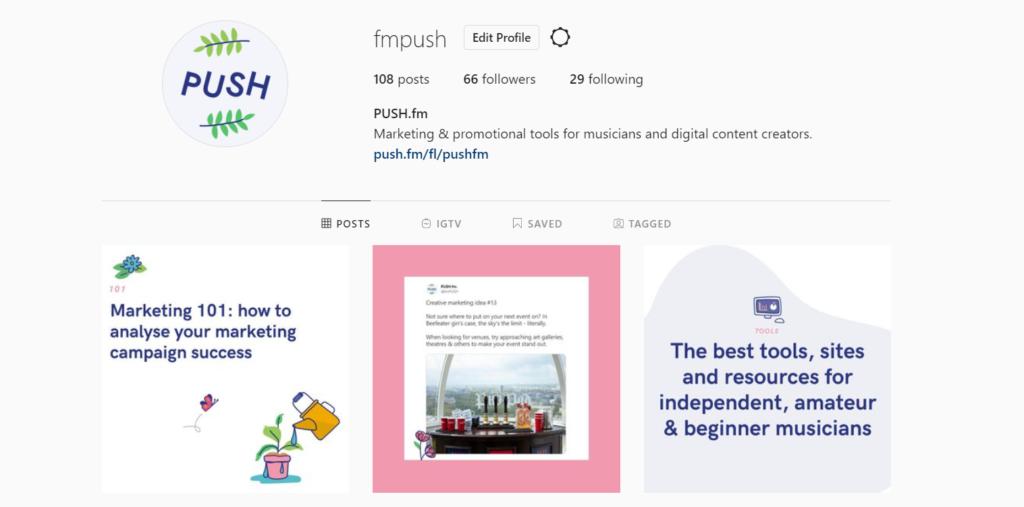 PUSH fm Instagram page