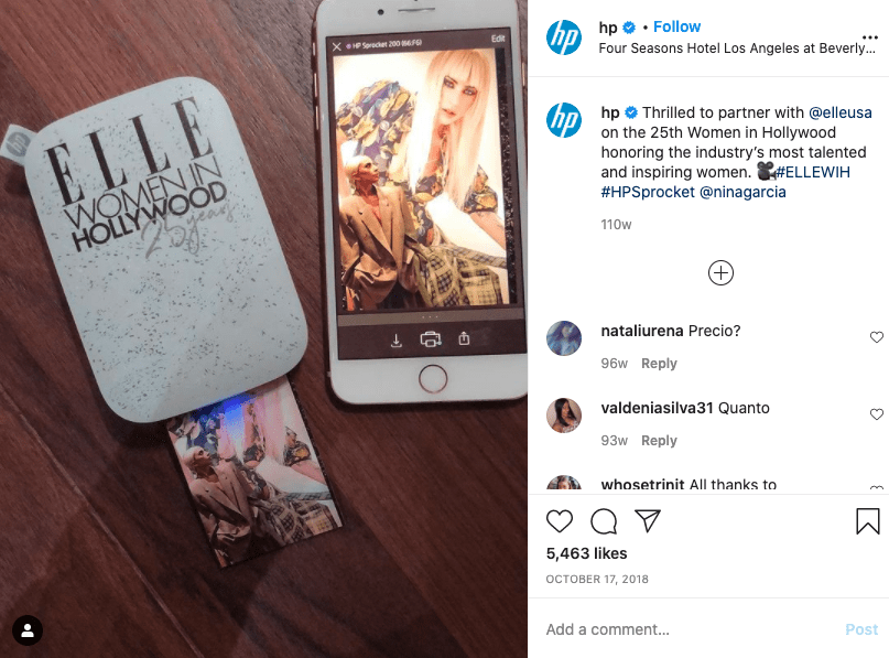 Example of an Instagram collaboration