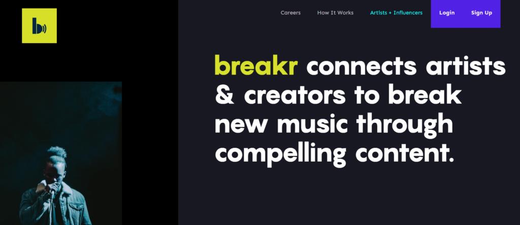 Breakr web homepage