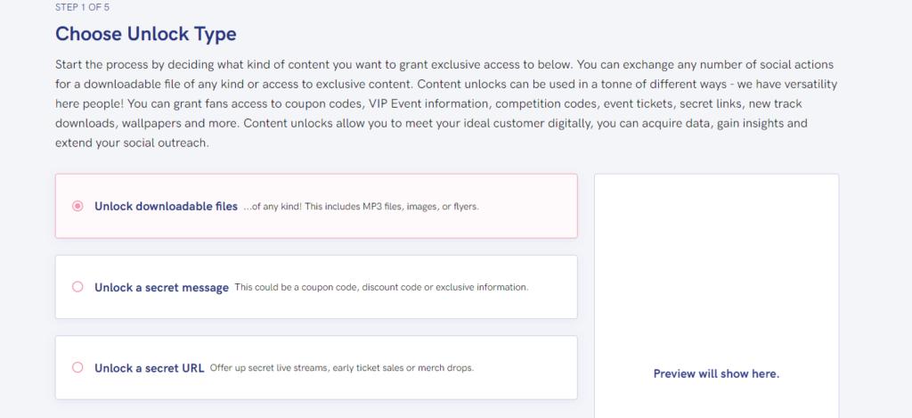PUSH.fm Content Unlock features