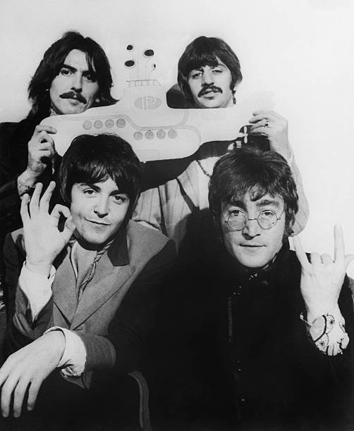 The Beatles black and white photo from Getty Images
