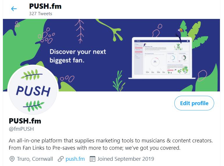 PUSH.fm Twitter profile