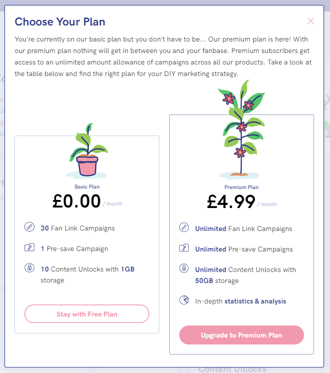 PUSH.fm pricing tiers