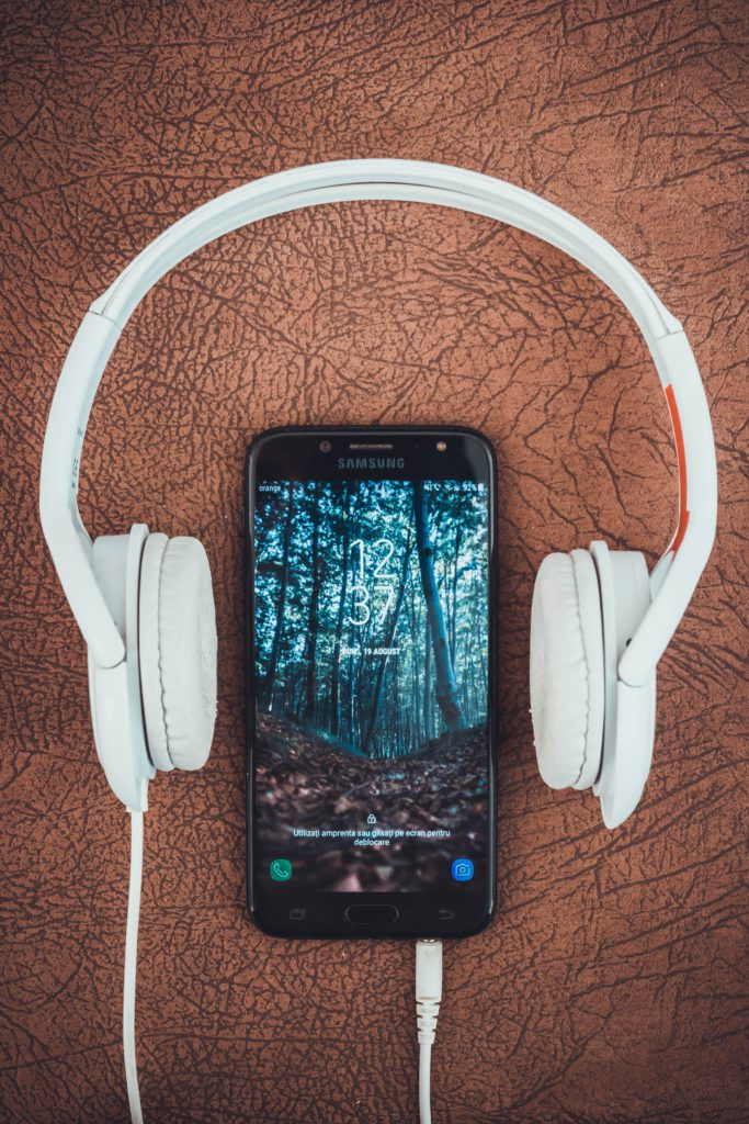 Image of mobile phone with headphones